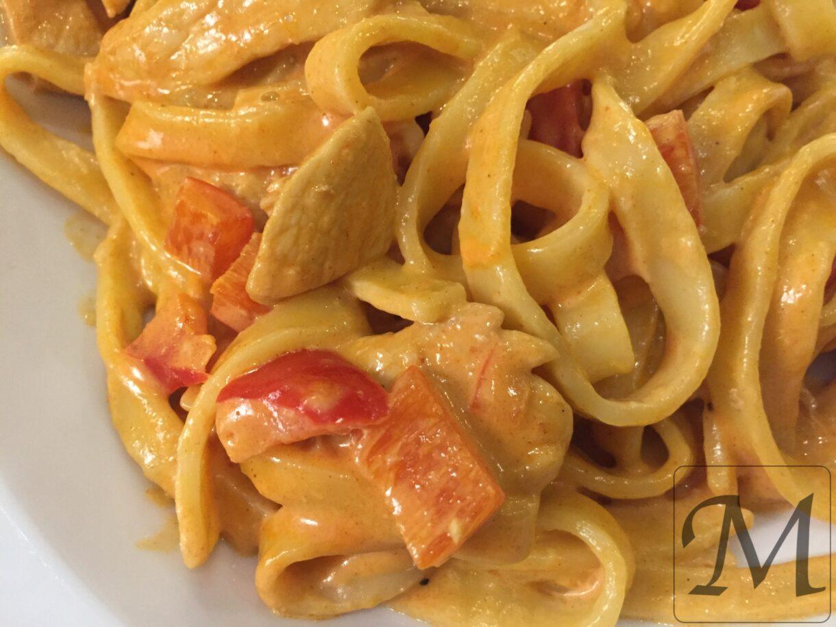 kylling med paprika og pasta