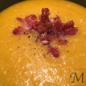 suppe med ristet bacon