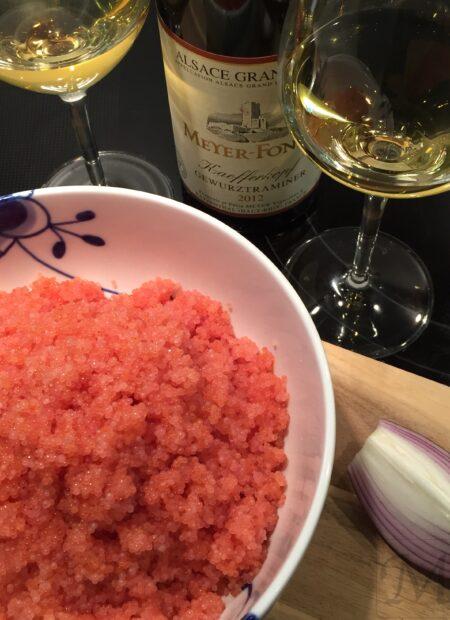 Frisk stenbiderrogn med Alsace vin